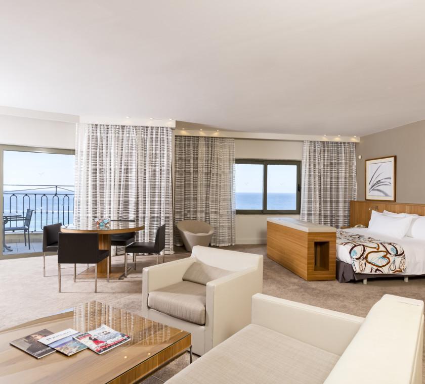 Ambassador suite lounge area and balcony overlooking the Portomaso