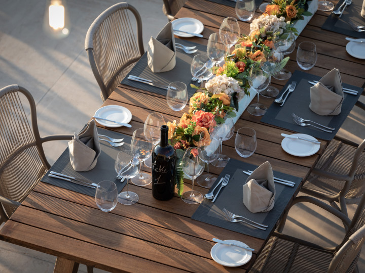 Dining table set up for an outdoor meal