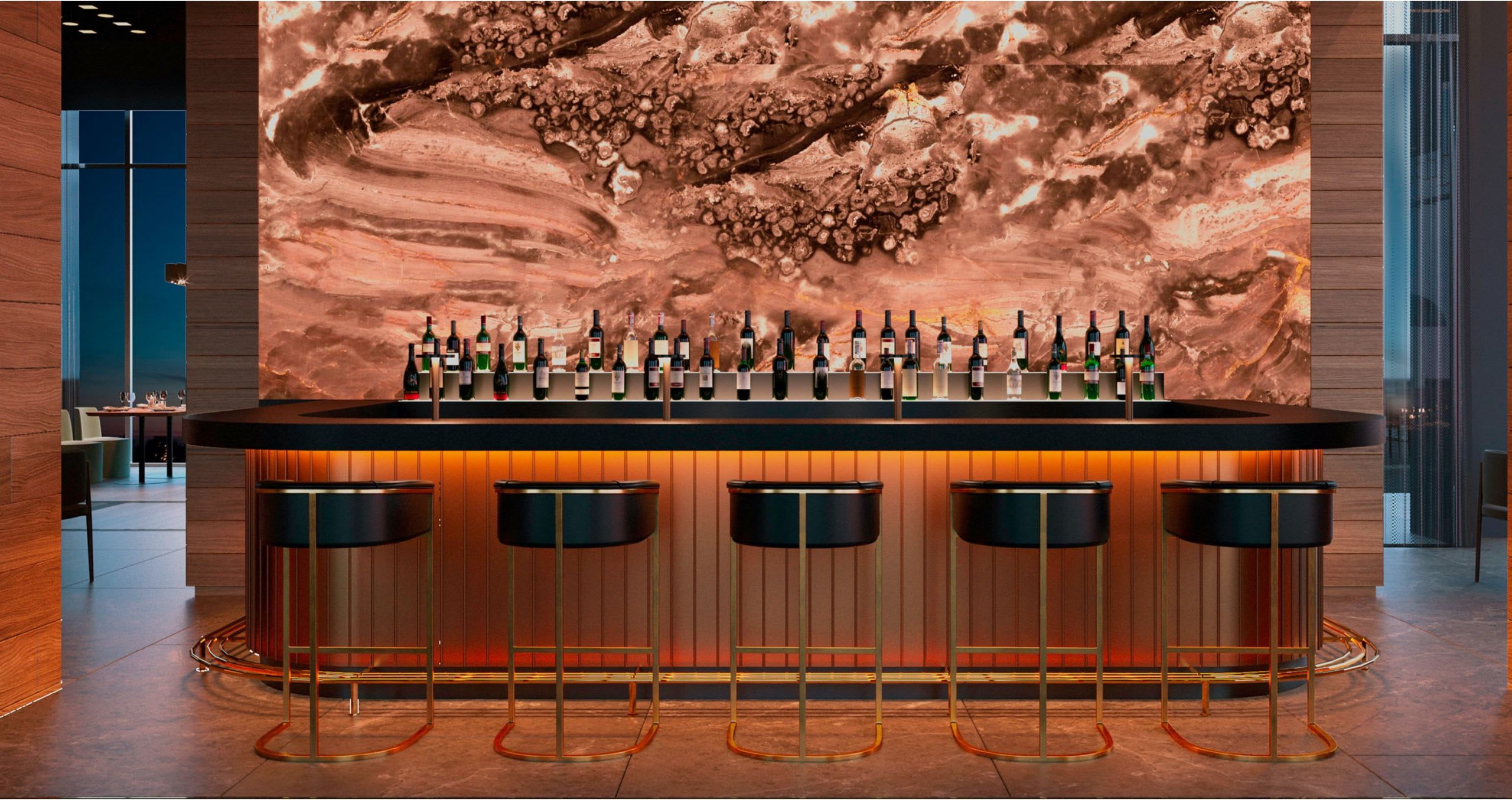 Bar image with stools and drinks